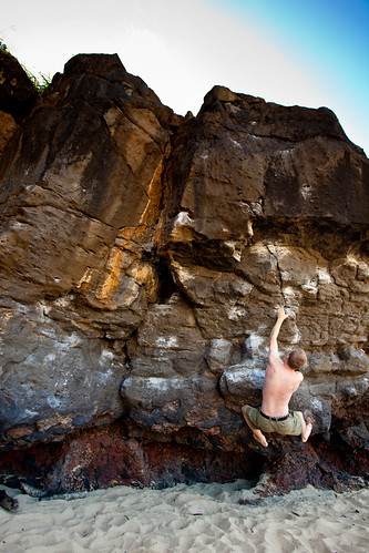 David Bouldering at Waimea Bay on Flickr