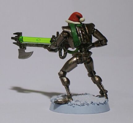 The Third Christmas Themed Necron I Made in 2010, This Time with a Hat and Scarf, Back View