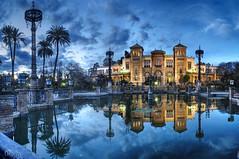 Palacio Mudejar en la Plaza de Amrica del Parque de Maria Luisa (Sevilla, Andalusia, Spain) (dleiva) Tags: parque sunset espaa architecture