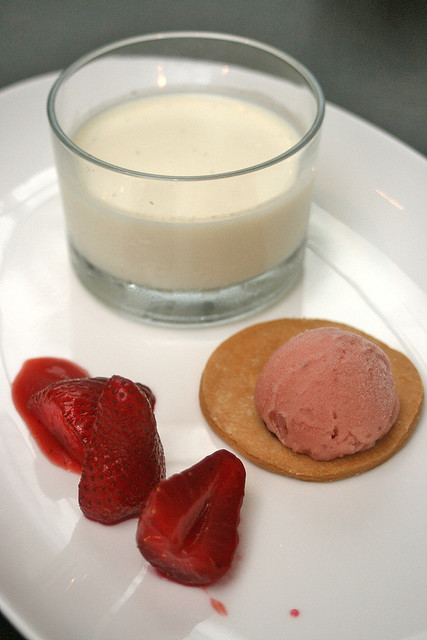 Lavender Panna Cotta - lavender infused light cream custard, compressed strawberries compote with balsamic vinegar and sablée biscuit