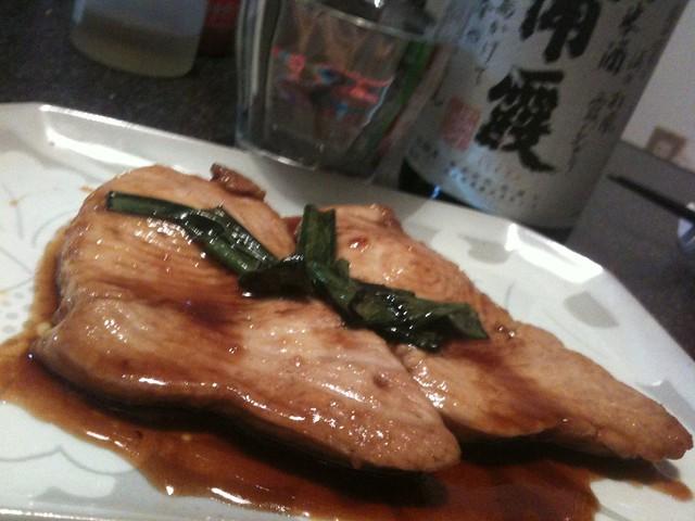 客人にモロの照り焼きをお見舞いいたしました。 #jisui