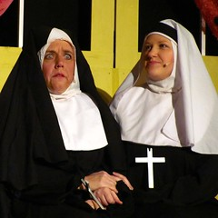 "Sister Mary Amnesia from the production of ""Nunsense"" (zJMac) Tags: white black mississippi town hall play place habit stage nuns carleton shocked upset mudd zjmac"