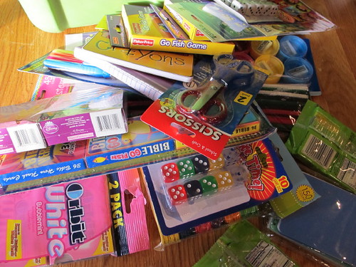 A pile of goodies for the shoeboxes