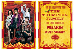 Thompson Family Christmas Card - 2010 (Theresa Thompson) Tags: christmas holiday photo circus explore card freak wolfman sideshow 2010 swordswallower beardedladies tattooedman hoorayfor50offcostumesafterhalloween