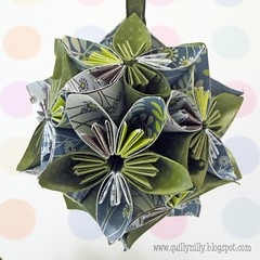 Kusudama Sage and Blue 1 (quillynilly) Tags: blue floral handmade decoration sage hanging kusudama