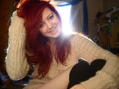 self-portrait. (kirbyamanda) Tags: girl smile socks hair kirby bedroom legs skin vibrant redhead jumper wooly teenage kneehigh
