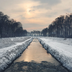 View from the Love Bridge: Pirot, Serbia, Пиротски Кеј, поглед са Љубавног моста. Tanjica Perovic Photography. (Tanjica Perovic) Tags: river winter snow trees alley sky clouds sun rekanisavaipirotskikej kej pirot srbija serbia kejnanisavi water symmetry centralcomposition кејнанишави пирот србија дрворед limetrees lipa липа perspective lines leadinglines centre riverbanks riverrapids pov pointofview 18 morning light risingsun subduedtonality atmospheric reflection canoneos400d sigma1770mm square squareformat explore scenery dreamy nisava southeastserbia sunlight nature explored beauty path footprints sigma1770mmf2845dcmacro pirotski pirotskicilim pirotsrbija tanjicaperovic тањицаперовић photography pirotserbia pirotskikej pirotkej нишава tanjicaperovicphotography gettyimages getty availableforlicensingongettyimages зимаснежная fotografijepirota floodbarrier barrieragainstflooding throughherlens