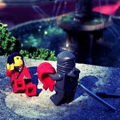 Two... (scochrancpslo) Tags: boss red 2 two toys fight nikon lego ninja centralpark battle stalker stealth minifigs faceoff showdown assassin bethesdafountain revelation unmasked d90 minifigures shesagirl nikond90 legominifigs legominifigures