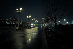 Reminiscing Nights (devin_clark) Tags: street cars rain night reflections lights bokeh parking peaceful front explore page lamps scape relfections