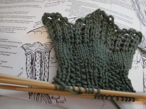 Russell Square Mitts design in progress