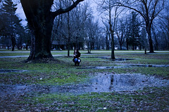 don't look back (explored) (londonscene) Tags: blue cold girl forest canon mud january puddles 2011 ruinedmyboots