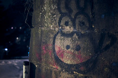(Liquid Oh) Tags: tower wall night laughing 35mm dark nose graffiti eyes nikon comic noir shot nightshot dino tag friendly grin nikkor luxembourg fortress luxemburg afs obscure dx letzebuerg d300s f18g