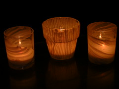 Polymer clay covered glass votive holders