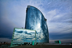 Hotel W Barcelona (Glenn Shoemake) Tags: barcelona barceloneta hdr highdynamicrange hotelw canonefs1022