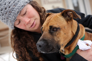 Vicktory dog, Layla, has a true friend in Dogtown caregiver, Carissa