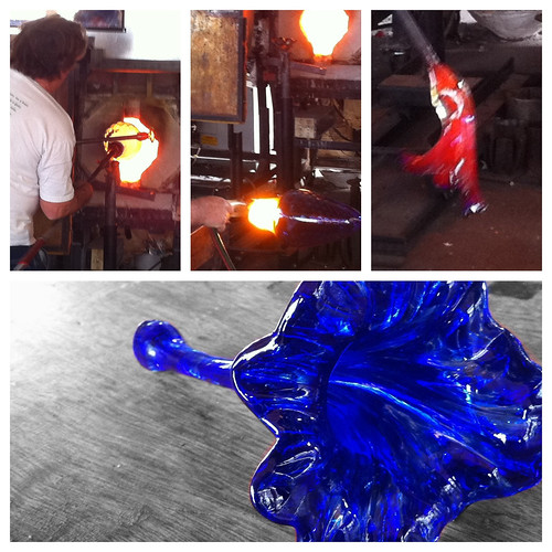 A collage of glass blower images in Santa Fe
