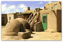 Taos Pueblo - Taos, New Mexico (Batikart ... handicapped ... sorry for no comments) Tags: door wood travel blue vacation sky usa cloud holiday newmexico santafe southwest building green slr art history texture window nature architecture square landscape spring sand dorf village oven natural minolta native fenster indian urlaub natur pueblo culture himmel wolke haus historic unesco worldheritagesite adobe architektur 1998 ladder taos grn blau nm holz gebude tr ofen settlement reise frhling weltkulturerbe leiter habitation historisch frhjahr lehm siedlung 2011 vereinigtestaaten 100faves 200faves viewonblack colorphotoaward lehmziegel batikart redwillowcreek saariysqualitypictures