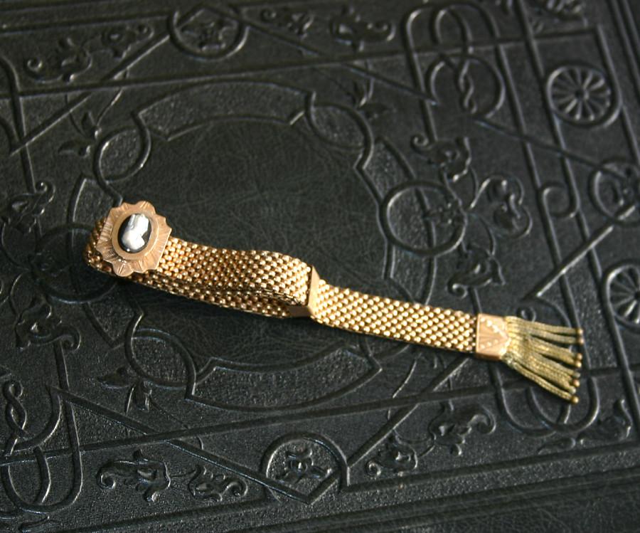 Victorian Gold Filled Cameo Bracelet - Mesh slide bracelet circa late 1800's - 05