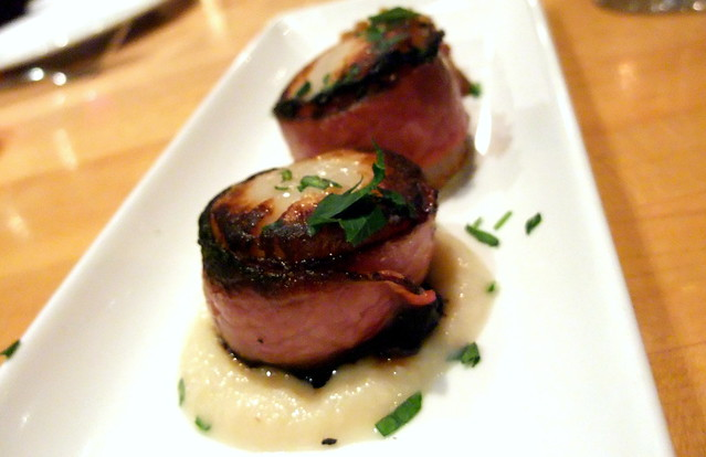 Seared Scallops wrapped with Smoked Meat and Celery Root Puree