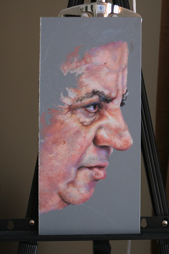in progress colored pencil drawing entitled Erol, Profile II