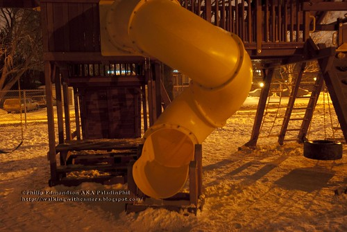 Slide and Playground at Night