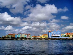 Swing Bridge Fully Open, Curacao (saxonfenken) Tags: houses sky water island pastel curacao caribbean antilles 390 gamewinner friendlychallenge yourock1stplace pregamewinner 390cities