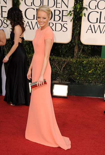 Actress Emma Stone arrives at the 68th Annual Golden Globe Award