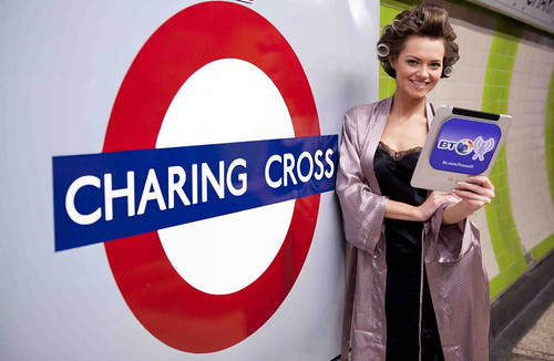 Kara Tointon at Charing Cross Underground station