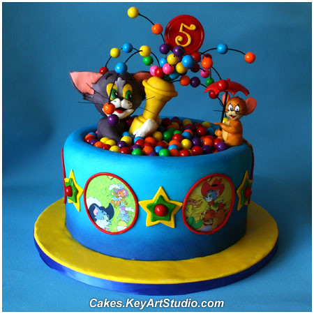 Tom and Jerry Playing in a Ball Pool Cake