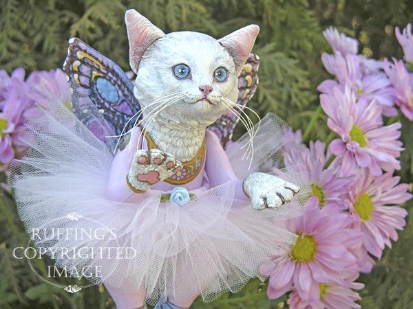 Opal the Pixie Kitten, Original, One-of-a-kind art doll by Max Bailey and Elizabeth Ruffing, version 2, White Turkish Angora Cat with Lavender-pink Chrysanthemums