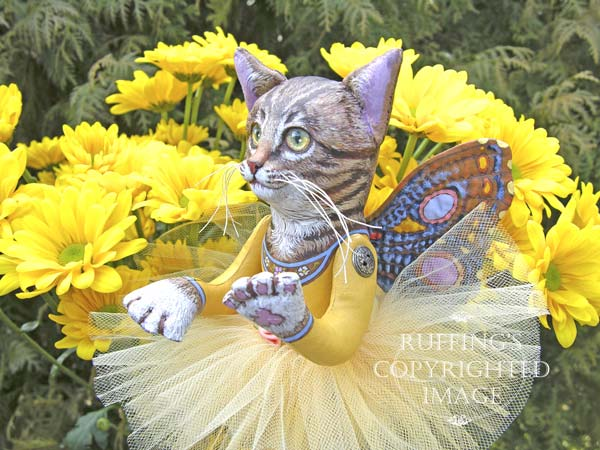 Celeste the Pixie Kitten, Original, One-of-a-kind art doll by Max Bailey and Elizabeth Ruffing, version 2, Tabby Cat, with Golden-yellow Chrysanthemums