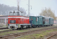 BDZ Soviet-built narrow gauge shunter 81 008 with the consist of a railroad enthusiasts' special train, Septemvri, Bulgaria, February 19, 2007 (Ivan S. Abrams) Tags: ivansabrams abramsandmcdanielinternationallawandeconomicdiplomacy ivansabramsarizonaattorney ivansabramsbauniversityofpittsburghjduniversityofpittsburghllmuniversityofarizonainternationallawyer