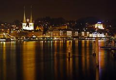 Lucerne by night (duqueıros) Tags: light lake church night reflections schweiz switzerland see licht nightshot suisse nacht luzern kirche svizzera lucerne vierwaldstättersee hofkirche reflektionen nachtfoto abigfave duqueiros