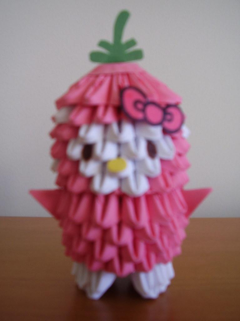 Origami Strawberry Hello Kitty Yumezakura Tags Birthday Cute Fruit Paper 3d