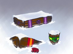 Concept art for the collectable materials in the Multiplayer