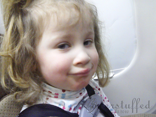 Sophia on the airplane