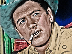 Movie Star Rock Hudsonthe TV Shot Posterization (Walker Dukes) Tags: california blue gay red orange white man black color green film beautiful beauty hat television shirt photoshop gold screenshot glamour eyes cowboy cigarette young tan handsome lips hollywood actress movies actor ash smoker diva rugged topaz picturesofthetelevision topazadjust
