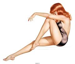 [フリー画像] グラフィックス, イラスト, 人物(イラスト), 女性, 煙草・タバコ, ドレス, 201012070300