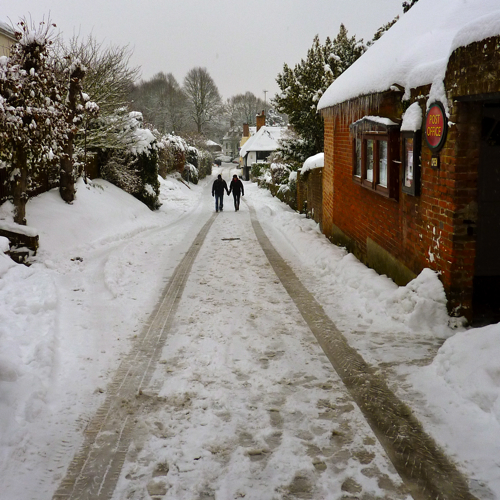 Chilham in the snow ~ village couple