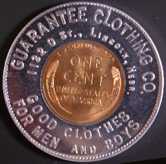 Encased 1935 cent reverse