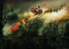 Cutting it fine. (MC BAILY) Tags: santa christmas morning sun moon london fairytale night flying holidays day rooftops magic gifts fantasy presents fatherchristmas christmaseve sleigh clause
