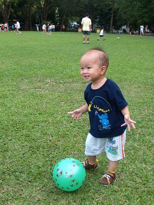 Justin kick ball