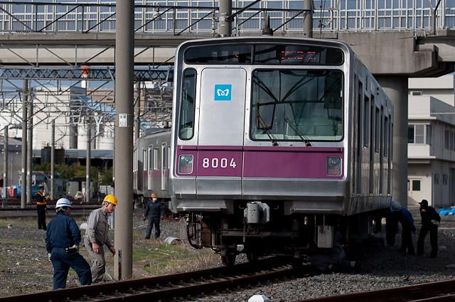 東京メトロ半蔵門線8000系 8104F 新木場車両基地構内試運転