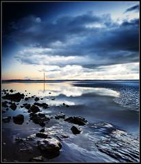 Stones, Crosby beach. Explore (Ianmoran1970) Tags: blue sky cloud reflection beach wet rock stone wales river landscape sand shiny shine mud boots stones ripple hills marker mile mersey crosby wirral muddyboots ianmoran ianmoran1970