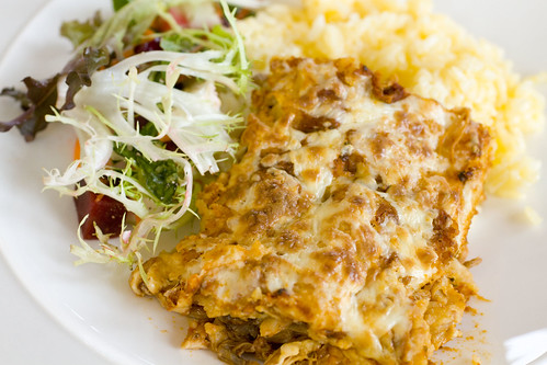 Pork Enchiladas with rice and salad 4