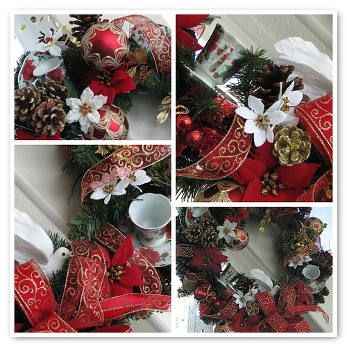 Mosaic Christmas Tea Wreath