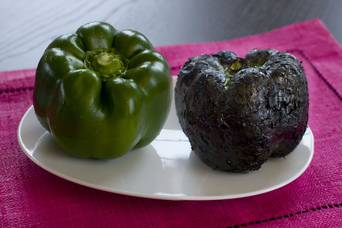 Before and After Roasted Green Bell Pepper