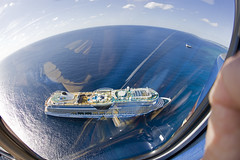 AIDAluna (blueheronco) Tags: tour aerialview helicopter caymanislands grandcayman caribbeansea fisheyelense aidaluna caymanislandshelicopters