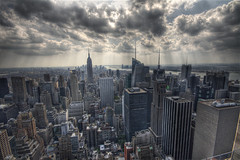 NewYork, NewYork (Andrea Pirazzini) Tags: summer panorama holiday newyork skyline clouds america canon nuvole day estate view cloudy sigma vista empirestatebuilding 1020 hdr vacanza rockfeller 3xp 400d