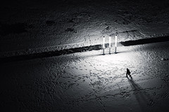 Paths (Philipp Klinger Photography) Tags: winter light shadow people urban bw woman white snow man black nature lamp night germany dark landscape deutschland blackwhite hessen path frankfurt trails atmosphere trail human paths hesse